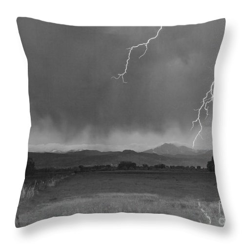 Lightning Throw Pillow featuring the photograph Lightning Striking Longs Peak Foothills 5bw by James BO Insogna