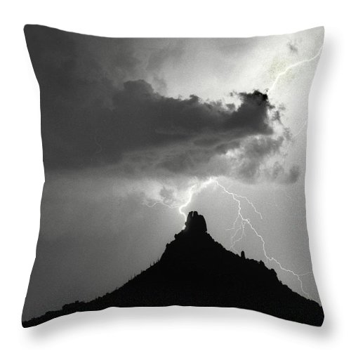 Pinnacle Peak Throw Pillow featuring the photograph Lightning Striking Pinnacle Peak Arizona by James BO Insogna