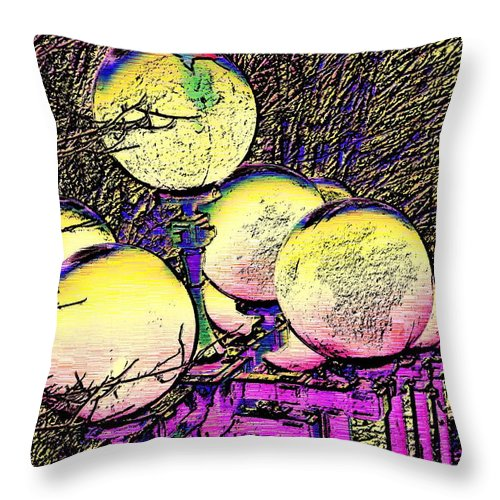 Landscape Throw Pillow featuring the digital art Lights Along The Way by Tim Allen