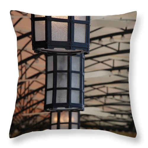 Architecture Throw Pillow featuring the photograph Lights At City Place by Rob Hans