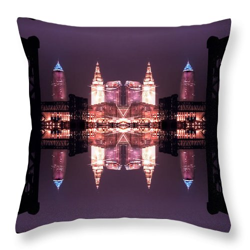 Cleveland Throw Pillow featuring the photograph Lights Buildings And Bridges by Kenneth Krolikowski