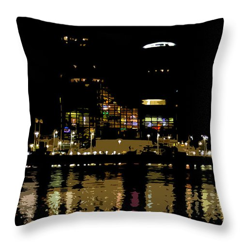 Tampa Museum Of History Throw Pillow featuring the painting Lights On History by David Lee Thompson