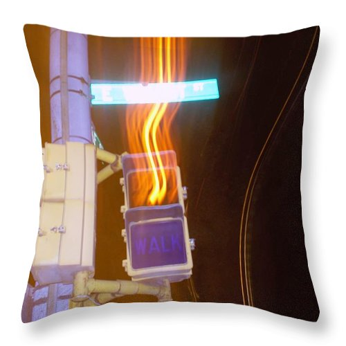 Photograph Throw Pillow featuring the photograph Lights That Eat Do Not Walk Signals by Thomas Valentine