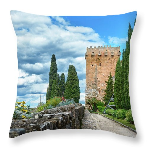 Throw pillow with photo of fortress in Spain