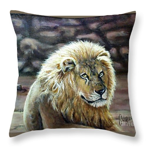 Fuqua - Artwork Throw Pillow featuring the painting Like Father by Beverly Fuqua