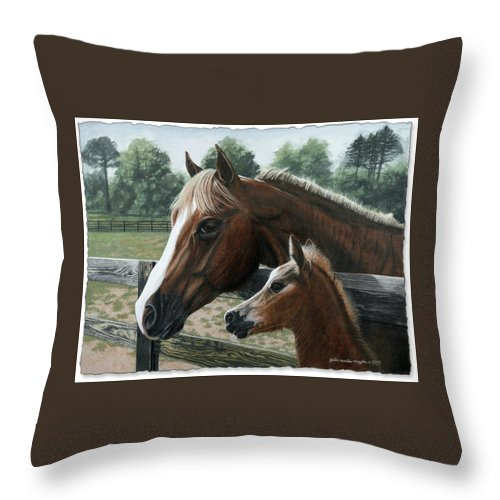 Landscape Throw Pillow featuring the painting Like Father Like Son by Peter Muzyka