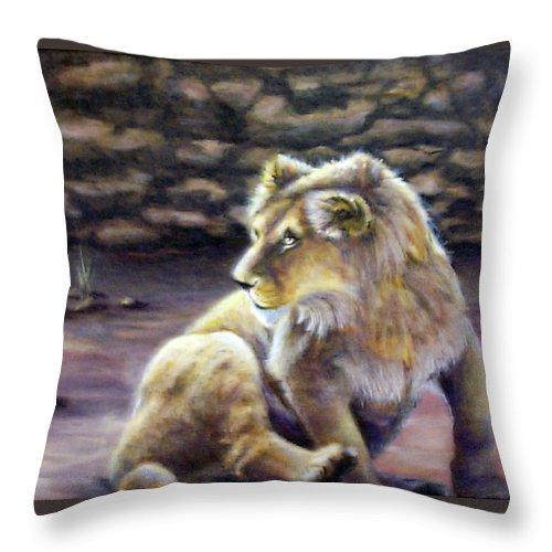 Fuqua - Artwork. Wildlife Throw Pillow featuring the painting Like Son by Beverly Fuqua