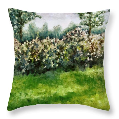 Spring Throw Pillow featuring the painting Lilac Bushes In Springtime by Michelle Calkins