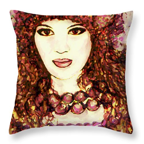Woman Throw Pillow featuring the painting Lilac by Natalie Holland
