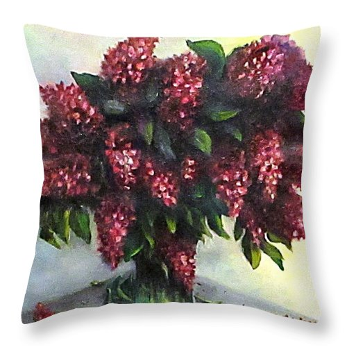Lilac Throw Pillow featuring the painting Lilac Original Flower Painting by Natalja Picugina