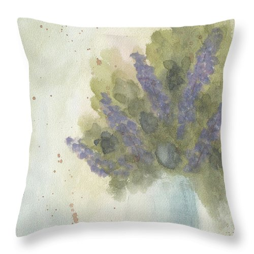 Lilac Throw Pillow featuring the painting Lilacs by Ken Powers
