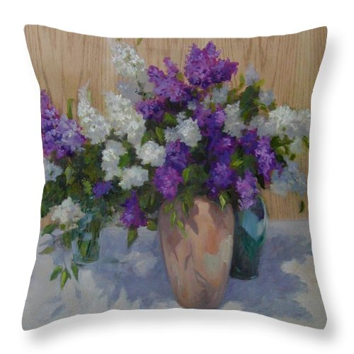 Lilacs Throw Pillow featuring the painting Lilacs by Patricia Kness