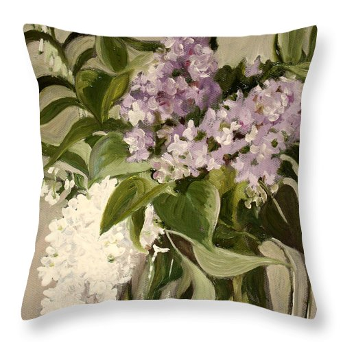 Still-life Throw Pillow featuring the painting Lilacs by Sarah Lynch