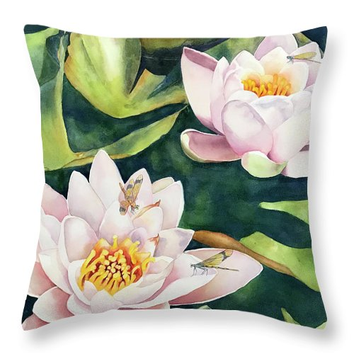 Lily Throw Pillow featuring the painting Lilies And Dragonflies by Hilda Vandergriff