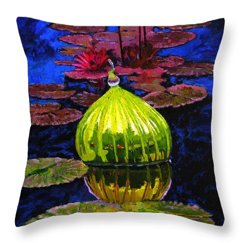 Blown Glass Throw Pillow featuring the painting Lilies And Glass Reflections by John Lautermilch