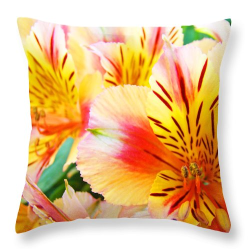 Lilies Throw Pillow featuring the photograph Lilies Art Prints Pink Yellow Lily Flowers 1 Giclee Prints Baslee Troutman by Baslee Troutman