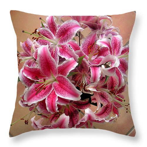 Nature Throw Pillow featuring the photograph Lilies Gathered On Tile by Lucyna A M Green