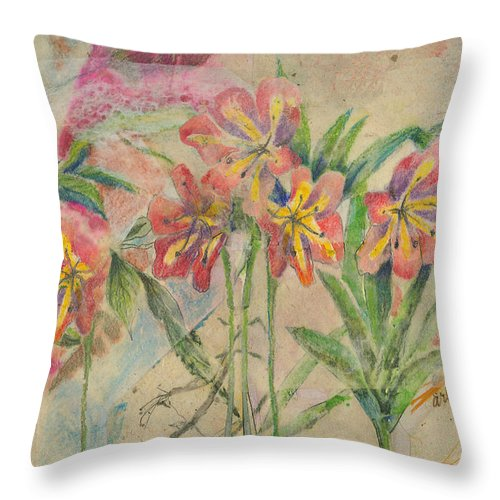 Flowers Throw Pillow featuring the mixed media Lilies In Disguise by Arline Wagner