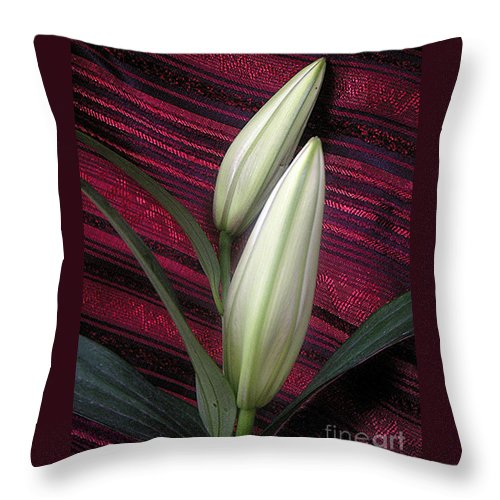 Nature Throw Pillow featuring the photograph Lilies Paired On Red Brocade by Lucyna A M Green