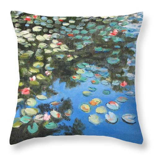 Lilie Pond Throw Pillow featuring the painting Lilies by Paul Walsh