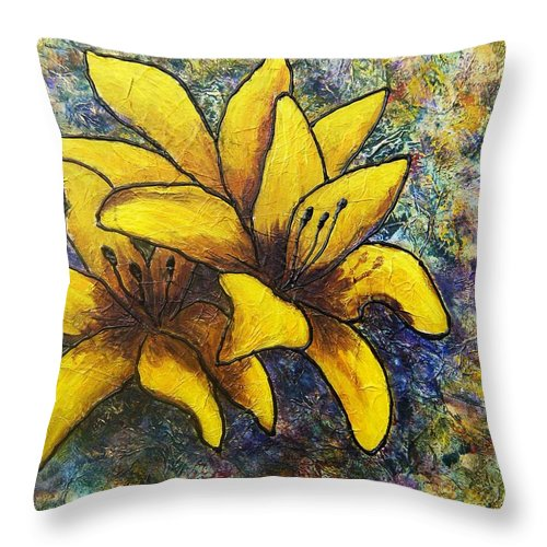 Flowers Throw Pillow featuring the painting Lilies by Tami Booher