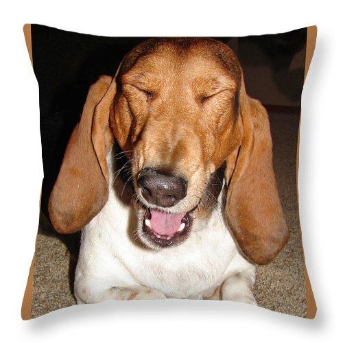 Basset Hound Throw Pillow featuring the photograph Lillard by Heather Coen