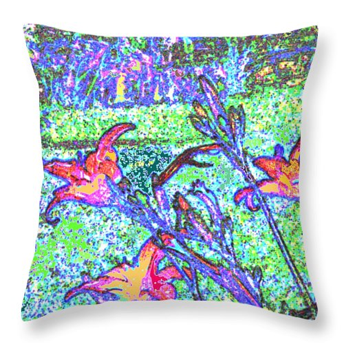 Abstract Throw Pillow featuring the photograph Lillies by Ian MacDonald