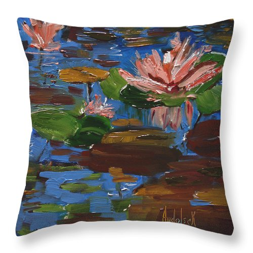 Impressionism Throw Pillow featuring the painting Lily by Barbara Andolsek