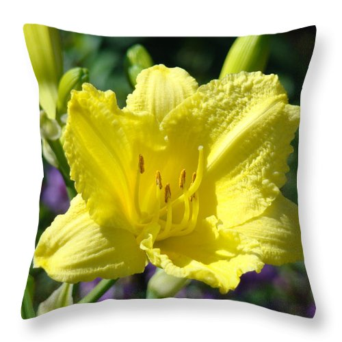 Lilies Throw Pillow featuring the photograph Lily Flower Art Print Canvas Yellow Lilies Baslee Troutman by Baslee Troutman