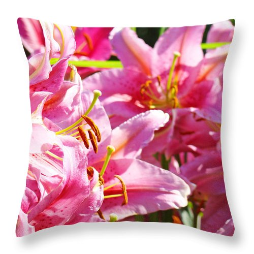 Lilies Throw Pillow featuring the photograph Lily Garden Floral Art Prints Pink Lilies Baslee Troutman by Baslee Troutman