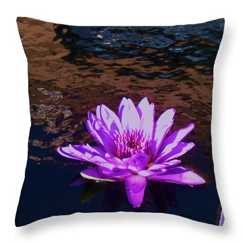 Photograph Throw Pillow featuring the painting Lily In Pond by Eric Schiabor