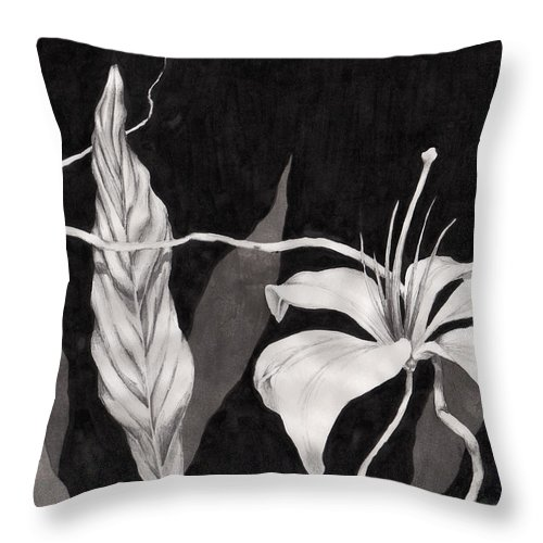 Ink Painting Throw Pillow featuring the drawing Lily In The Night by Jennifer McDuffie