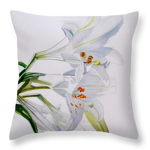 Lily. Flower Throw Pillow featuring the painting Lily by Nicole Curreri