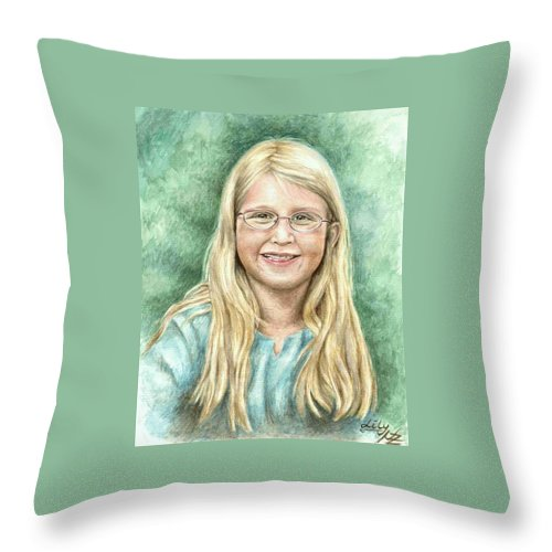 Girl Throw Pillow featuring the painting Lily by Nicole Zeug