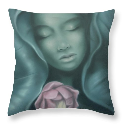 Lily Of The Lake Throw Pillow featuring the painting Lily Of The Lake by Lucy West