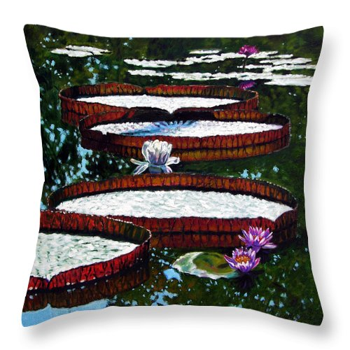 Garden Pond Throw Pillow featuring the painting Lily Pad Highlights by John Lautermilch