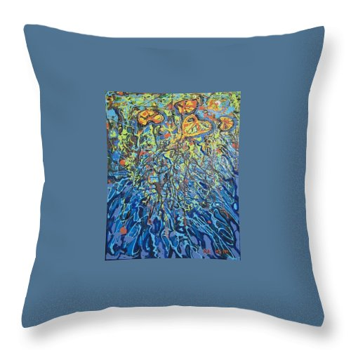 Lily Pads Paintings Throw Pillow featuring the painting Lily Pads Water Lily Paintings by Seon-Jeong Kim