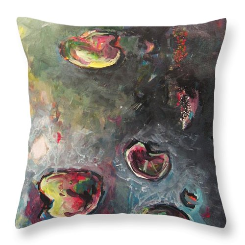 Abstract Painting Lily Pad Water Lake Blue Plant Paper Original Contemporary Canvas Throw Pillow featuring the painting Lily Pads5 by Seon-Jeong Kim