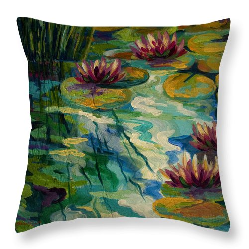 Water Lily Throw Pillow featuring the painting Lily Pond II by Marion Rose