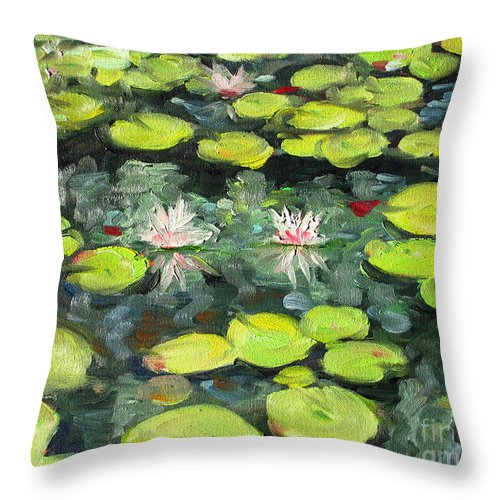 Pond Throw Pillow featuring the painting Lily Pond by Paul Walsh