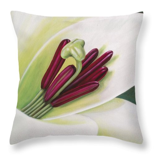 Flower Throw Pillow featuring the painting Lily by Rob De Vries