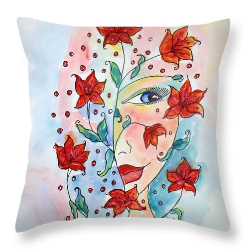 Lily Throw Pillow featuring the painting Lily by Robin Monroe