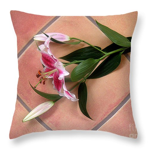 Nature Throw Pillow featuring the photograph Lily Stem On Tile by Lucyna A M Green
