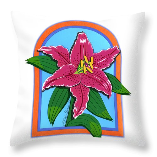 Nature Throw Pillow featuring the drawing Lily Too by Lucyna A M Green