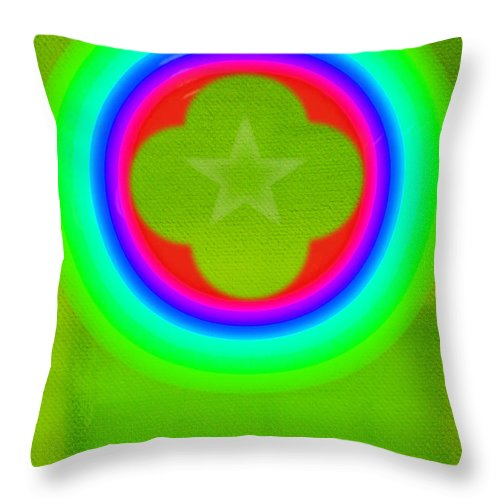 Abstract Throw Pillow featuring the painting Lime by Charles Stuart