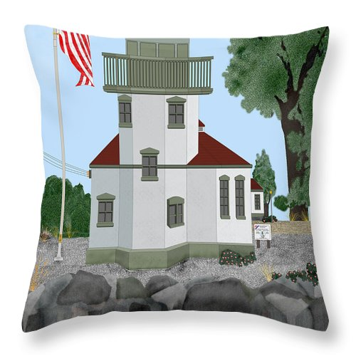 Lighthouses Throw Pillow featuring the painting Lime Kiln Light On San Juan Island by Anne Norskog