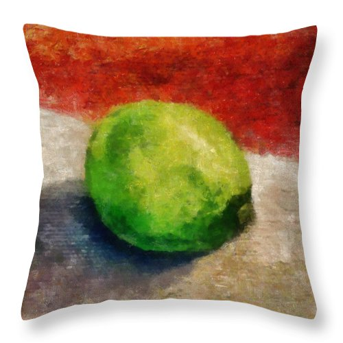 Lime Throw Pillow featuring the painting Lime Still Life by Michelle Calkins
