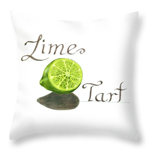Watercolor Painting Throw Pillow featuring the painting Lime Tart by Erin Sparler