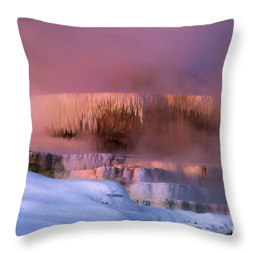 North America Throw Pillow featuring the photograph Limestone Artwork Minerva Springs Yellowstone National Park by Dave Welling