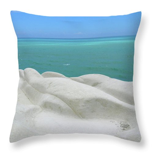 Limestone Throw Pillow featuring the photograph Limestone Cliffs And Sea by Stefania Levi